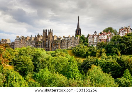 Edinburgh skyline with beautiful old houses and towers, United Kingdom - stock photo