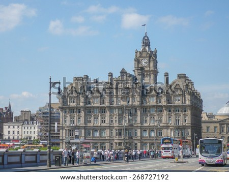 EDINBURGH, UK - JUNE 17, 2010: Tourists visiting the city of Edinburgh which is the capital of Scotland