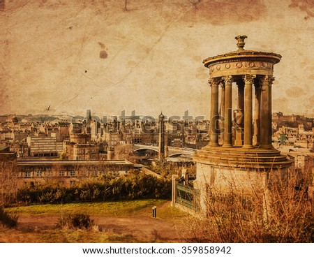 Edinburgh view with Dugald Stewart monument - vintage photo, sepia effects - stock photo