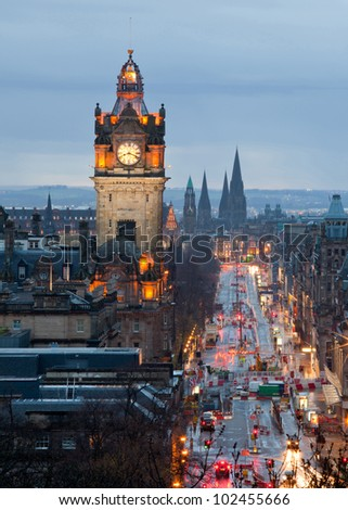Edinburgh with Clock Tower from Calton Hill at dusk Scotland UK - stock photo
