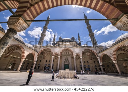 EDIRNE, TURKEY - JULY 12, 2016: Yard of Selimiye Mosque built in 1575 by Architect Sinan with the request of Suleyman the Magnificent on July 12, 2016 in Edirne, Turkey.  - stock photo