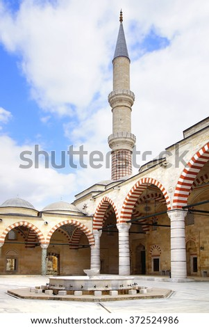 EDIRNE, TURKEY - OCTOBER 02, 2014: Selimiye Mosque. The mosque was commissioned by Sultan Selim II, and was built by an architect named Mimar Sinan between 1569 and 1575. - stock photo