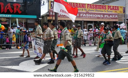 EDISON, NJ - AUG 9: The 11th annual India Day parade was held on August 9th, 2015, in Edison, New Jersey. It was organized by the Indian Business Association and drew more than 38,000 people.