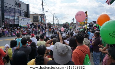 EDISON, NJ - AUG 9: The 11th annual India Day parade was held on August 9th, 2015, in Edison, New Jersey. It was organized by the Indian Business Association and drew more than 38,000 people. - stock photo