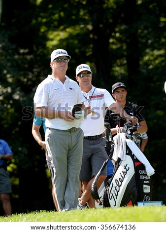 EDISON,NJ-AUGUST 25:Charley Hoffman takes a look down the fairway during the Barclays Tournament practice round held at the Plainfield Country Club in Edison,NJ,August 25,2015. - stock photo