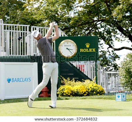 EDISON,NJ-AUGUST 26:Chris Kirk watches his shot during the Barclays Pro-Am held at the Plainfield Country Club in Edison,NJ,August 26,2015. - stock photo
