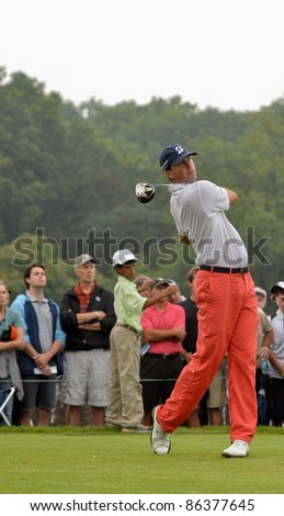 EDISON,NJ-AUGUST 27: Golfer Matt Kuchar watches his shot during the final round of the Barclays Tournament held at the Plainfield Country Club on August 27,2011 in Edison,NJ.