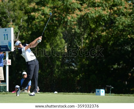 EDISON,NJ-AUGUST 28:Ian Poulter watches his shot during the second round of the Barclays Tournament held at the Plainfield Country Club in Edison,NJ,August 28,2015. - stock photo