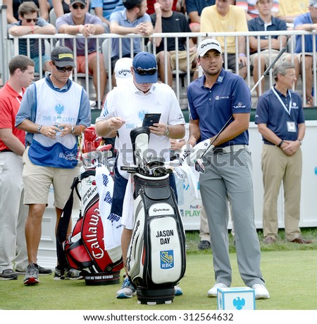 EDISON,NJ-AUGUST 30:Jason Day takes a look down the fairway from the 1st Tee during the final round of the Barclays Tournament held in Edison,NJ,August 30,2015. - stock photo