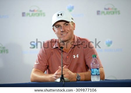EDISON,NJ-AUGUST 25: Jordan Spieth answers questions from the press at the Barclays 2015 Pre-tournament press conference held at the Plainfield Country Club in.Edison,NJ,August 25,2015.