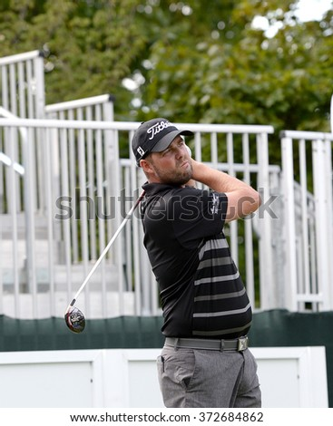 EDISON,NJ-AUGUST 26:Marc Leishman watches his shot during the Barclays Pro-Am held at the Plainfield Country Club in Edison,NJ,August 26,2015. - stock photo
