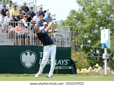 EDISON,NJ-AUGUST 30:Russell Knox watches his shot from the 1st Tee during the final round of the Barclays Tournament held at the Plainfield Country Club in Edison,NJ,August 30,2015.