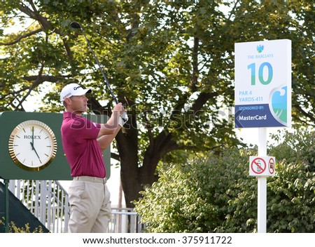 EDISON,NJ-AUGUST 26:Shawn Stefani watches his shot during the Barclays Pro-Am held at the Plainfield Country Club in Edison,NJ,August 26,2015.  - stock photo