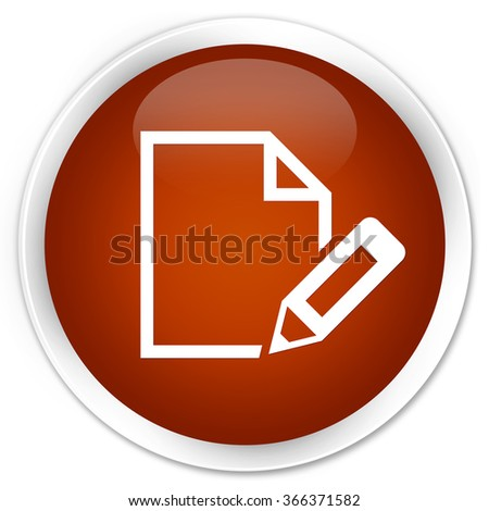 Edit document icon brown glossy round button