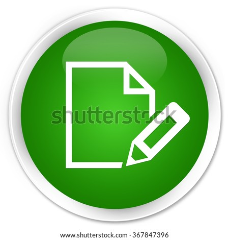 Edit document icon green glossy round button
