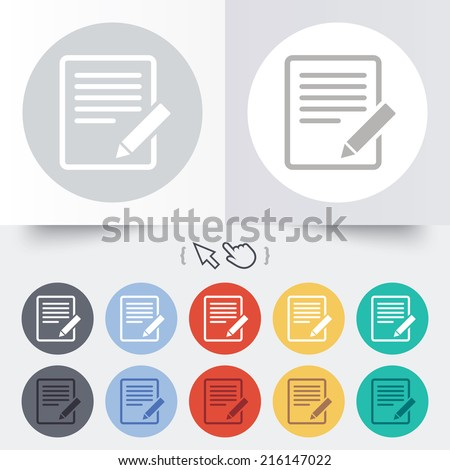 Edit document sign icon. Edit content button. Round 12 circle buttons. Shadow. Hand cursor pointer. - stock photo