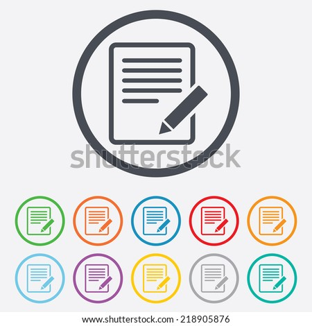 Edit document sign icon. Edit content button. Round circle buttons with frame. - stock photo
