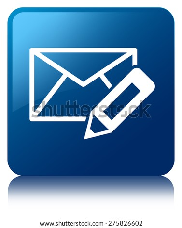 Edit email icon blue square button - stock photo