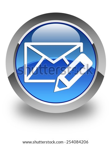 Edit email icon glossy blue round button - stock photo