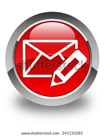 Edit email icon glossy red round button - stock photo