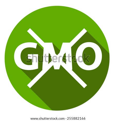 Editable GMO-free flat sign on a white background - stock photo