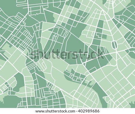 Editable vector street map of town as seamless pattern. illustration.