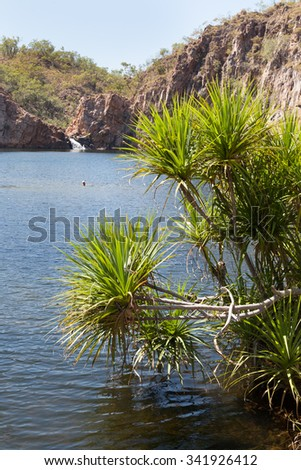 Edith Falls is in Nitmiluk National Park near Katherine in Northern Territory Australia - stock photo