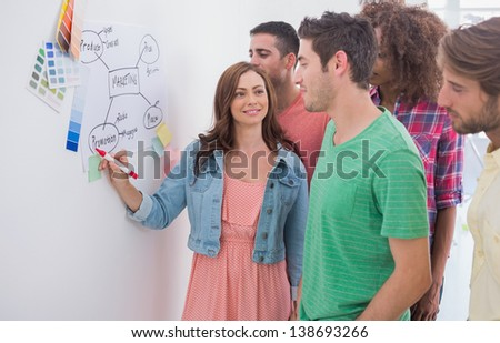 Editor explaining her flowchart on whiteboard to creative team - stock photo
