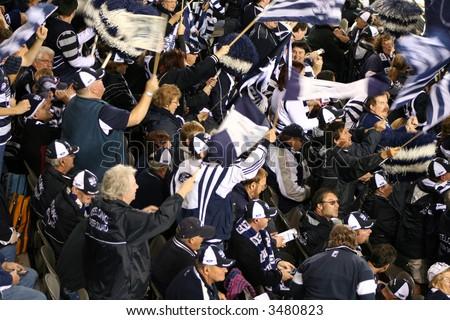 Editorial,Australian rules football Geelong cheer squad - stock photo