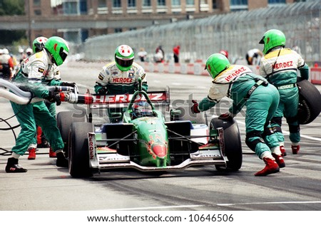 EDITORIAL - Pit stop during Molson Indy Car racing - stock photo