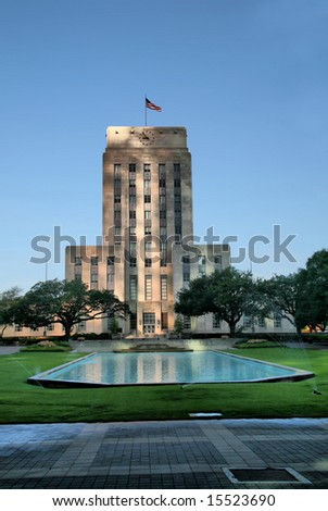 Editorial Use Only: Houston City Hall at Dusk (Release Information: Editorial Use Only. Use of this image in advertising or for promotional purposes is prohibited.) - stock photo