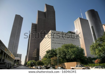 Editorial Use Only: Houston Skyline (Release Information: Editorial Use Only. Use of this image in advertising or for promotional purposes is prohibited.) - stock photo