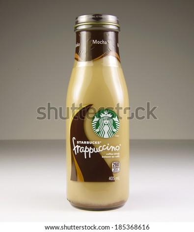 EDMONTON, AB, CANADA - April 3, 2014: Starbucks Frappuccino coffee drink.  Photo taken on April 3, 2014.  - stock photo