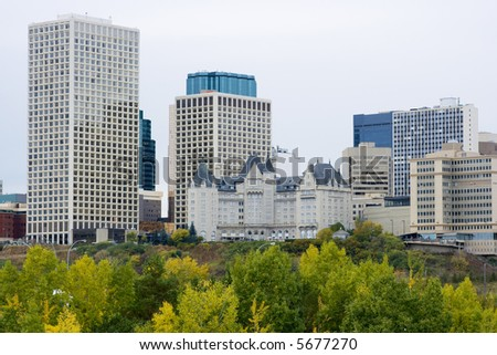 Edmonton, Alberta, downtown business towers and skyline in the fall. - stock photo