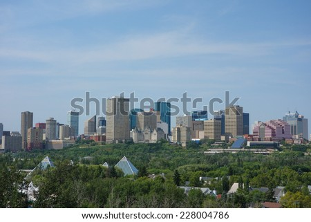 EDMONTON, CANADA - AUGUST 12, 2014: View of the modern city centre of Egmonton in Canada