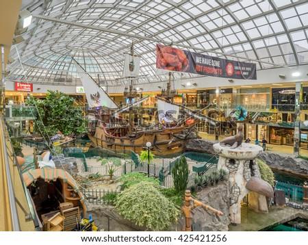 EDMONTON, CANADA - MAY 21: West Edmonton Mall wood galleon attraction on May 21, 2016 in Edmonton, Alberta. The West Edmonton Mall was once the largest mall in the world. - stock photo