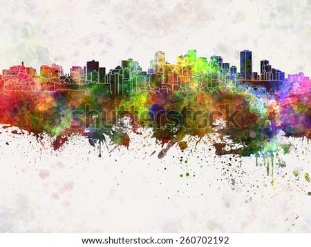 Edmonton skyline in watercolor background - stock photo