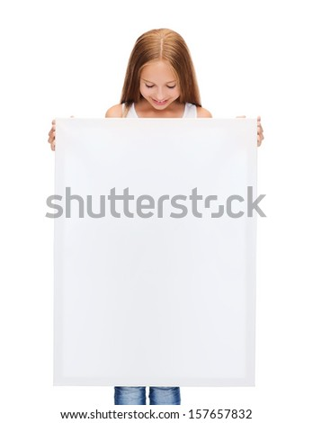 education and blank board concept - little girl with blank white board - stock photo