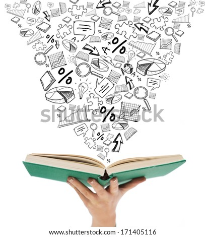 education and book concept - close up of woman hand holding open green book - stock photo