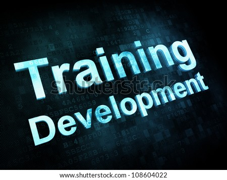 Education and learn concept: pixelated words Training Development on digital screen, 3d render - stock photo