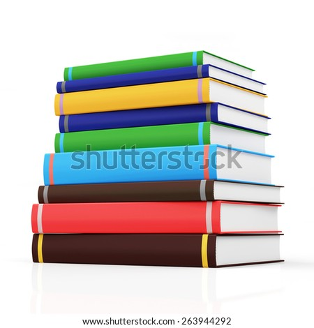 Education and Learning Concept. Stack of Colorful Books isolated on white background - stock photo