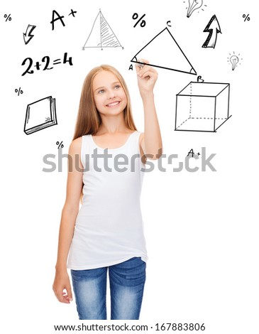 education and new technology concept - smiling teenage girl in blank white shirt drawing triangle on virtual screen - stock photo