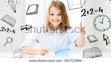 education and school concept - smiling student girl studying at school - stock photo