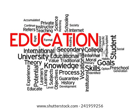 Education and school vision on white background