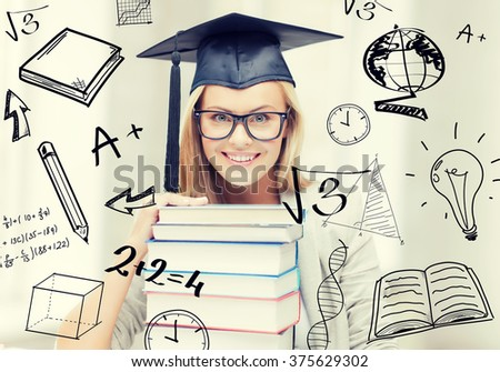 education and university concept - happy student in graduation cap with stack of books and doodles