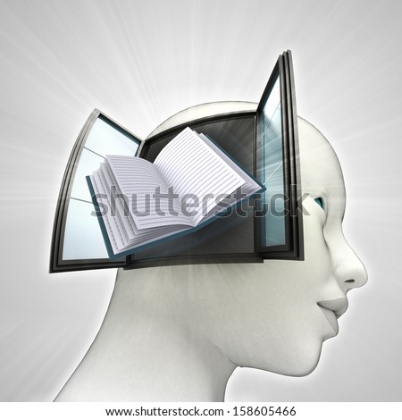 education book coming out or in human head through window knowledge concept illustration - stock photo