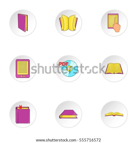 Education book icons set. Cartoon illustration of 9 education book  icons for web