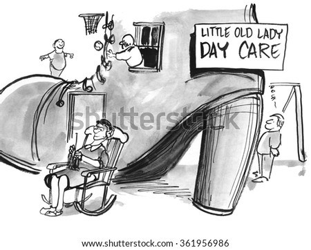 Education cartoon.  The little old lady has a daycare in her shoe. - stock photo