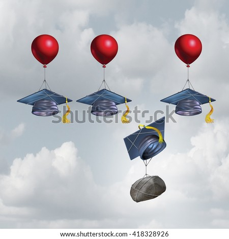 Education challenge burden and school debt concept as a group of mortarboards or graduate cap being lifted higher with one sinking weighted down by a rock with 3D illustration elements. - stock photo