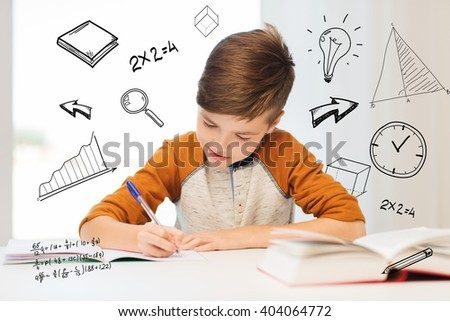 education, childhood, people, homework and school concept - smiling student boy with book writing to notebook at home over mathematical doodles - stock photo